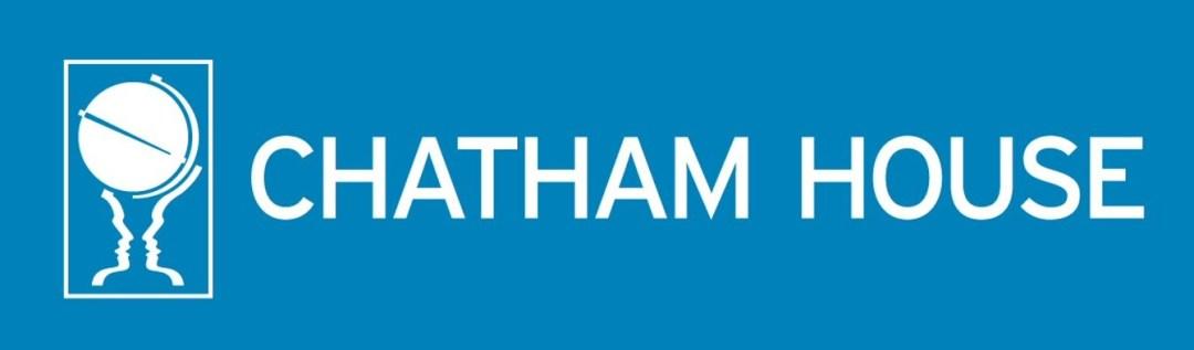 Chatham House Logo white on blue high res
