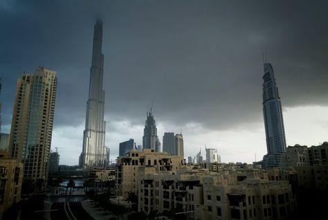 Dubai in a rain storm