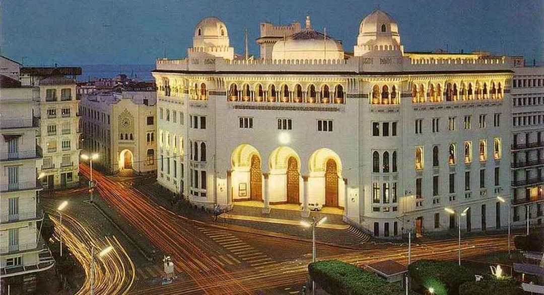 Algiers Main Post Office by night