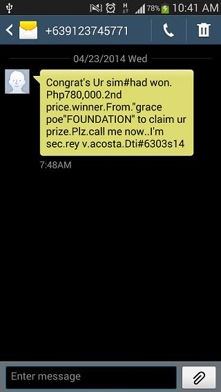 sms-spam-grace-poe-foundation