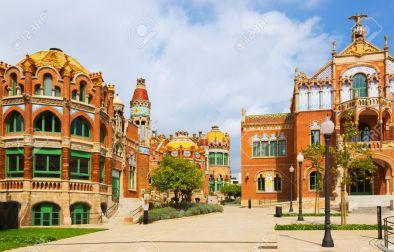 Hospital de Sant Pau by Catalan modernist architect by Lluis Domenech i Montaner in Barcelona. Catalonia, Spain