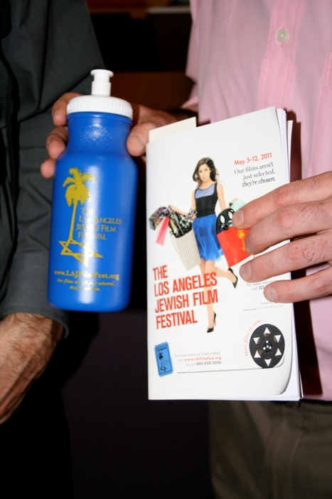 The L.A. JFF water bottle and brochure