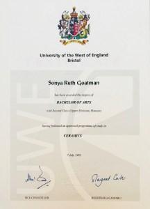 Sonya Wilkins BA (Hons) Ceramics Certificate