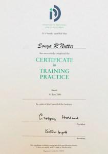 Sonya Wilkins Certificate in Training Practice Certificate