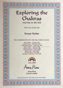 Sonya Wilkins Exploring The Chakras Certificate