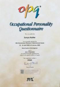 Sonya Wilkins OPQ Level 2 Certificate