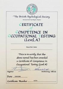 Sonya Wilkins Occupational Testing Level A Certificate MBTI