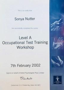 Sonya Wilkins Occupational Testing Level A Certificate OPQ