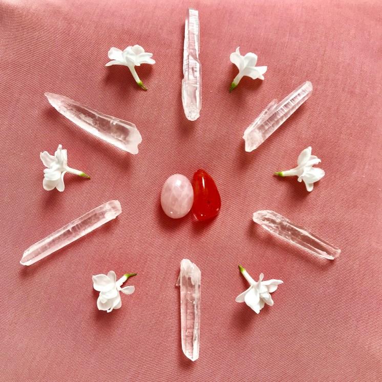 Crystal Healing Womb Mandala Rose Quartz and Carnelian Bristol Reiki Healing Arts