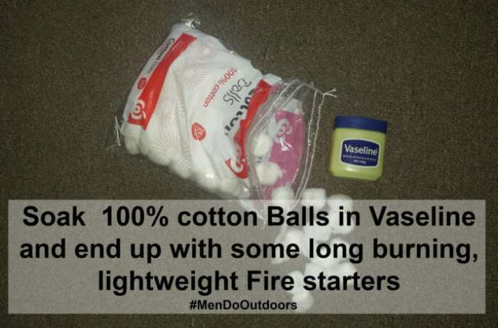 cotton balls covered in Vaseline