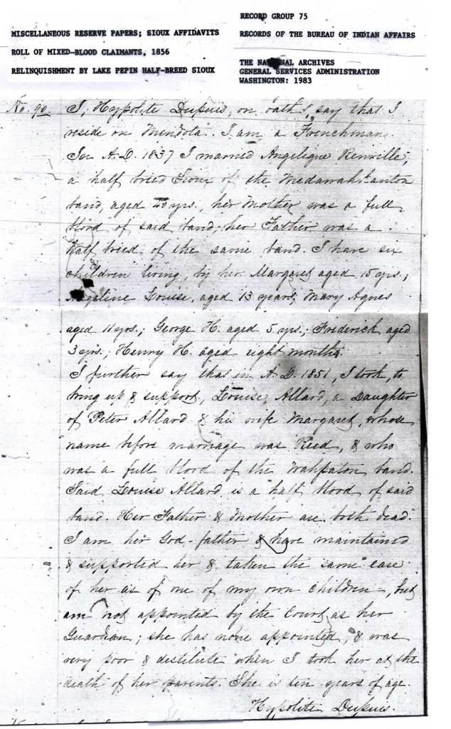 Hypolite Dupuis 1856 Affidavit No. 90