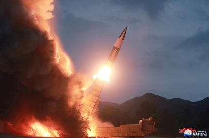 FILE - North Korea test fires a new weapon, in this undated photo released Aug. 11, 2019, by North Korea's Korean Central News Agency (KCNA).