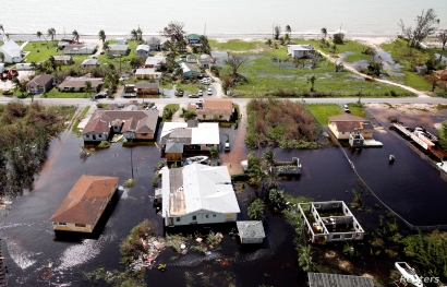 An aerial view shows flooded area after hurricane Dorian hit the Grand Bahama Island in the Bahamas,September 4, 2019. REUTERS/Joe Skipper