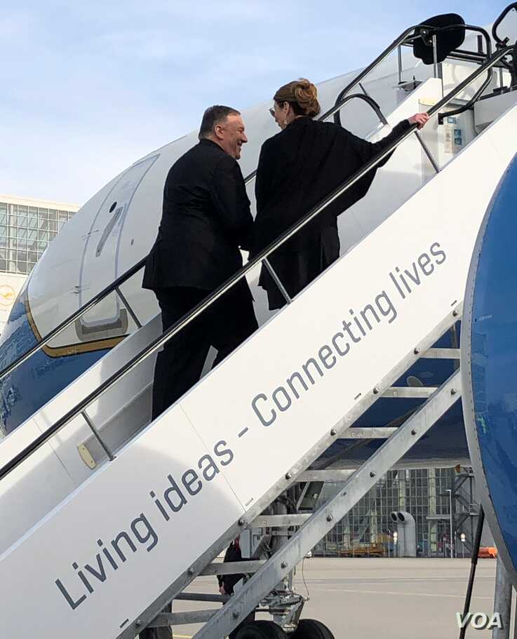 Secretary of State Mike Pompeo and his wife Susan Pompeo departing Munich for Senegal.