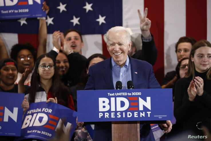 Democratic 2020 U.S. presidential candidate and former Vice President Joe Biden speaks during a Nevada Caucus night event in…
