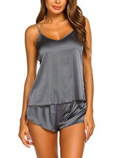 Ekouaer Satin Pajamas Cami Shorts Set Nightwear Grey