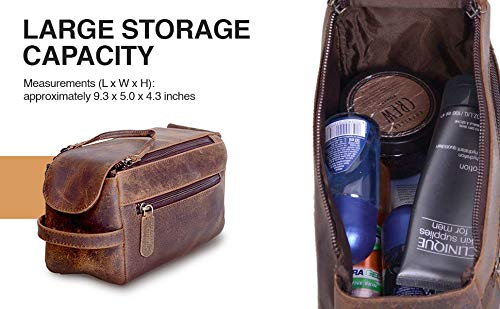 KOMALC Genuine Buffalo Leather Toiletry Bag
