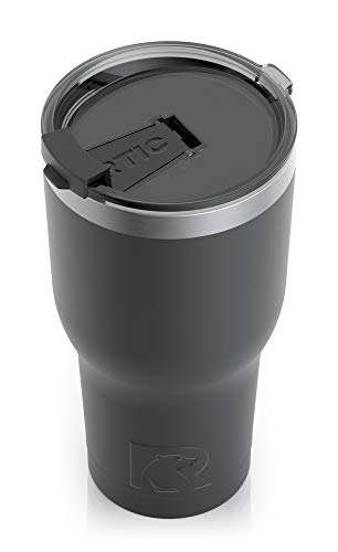 RTIC Insulated Travel Tumbler, Stainless Steel Mug, Hot Or Cold Drinks, with Splash Proof Lid, 30Oz, Black
