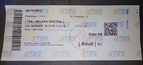 Tiket dari KL ke Malaka
