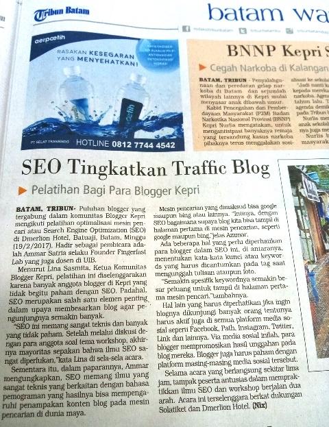 Pemberitaan tentang kegiatan Workshop SEO Blogger Kepri pada harian Tribun Batam. Foto by menixnews.com