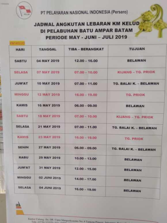 Jadwal Dan Harga Tiket Pelni Mudik Lebaran 2019 Dari Batam
