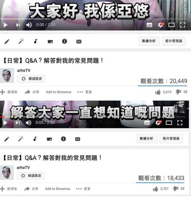 Arho Sunny曾於自己的facebook表示,YouTube莫名奇妙地扣減他的影片views。