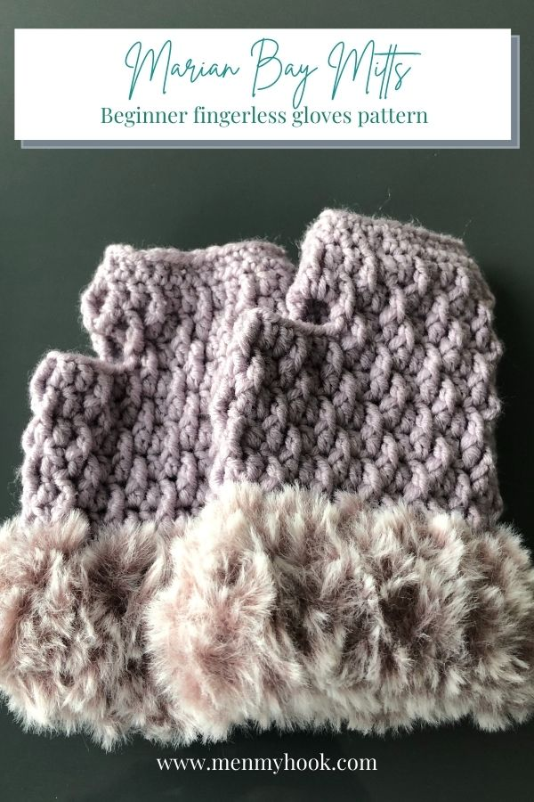 Beginner Crocheted Fingerless gloves in Moonstone