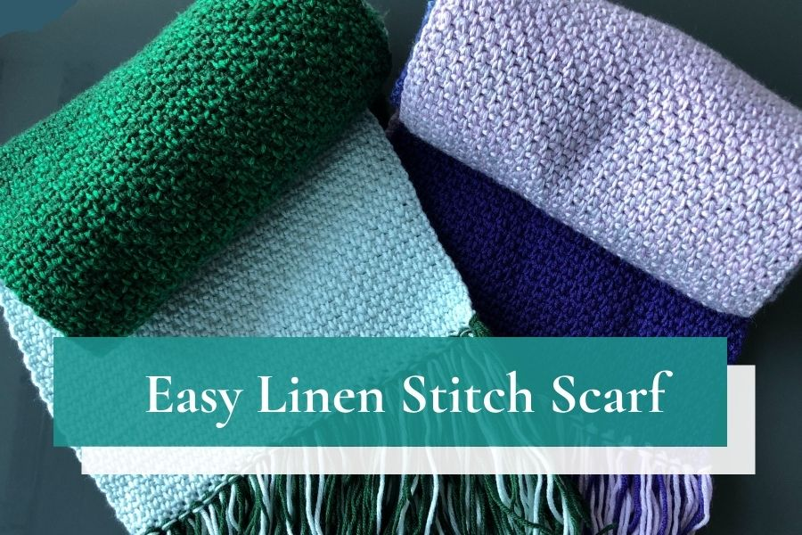 Make your own easy beginner scarf with the linen stitch scarf crochet pattern