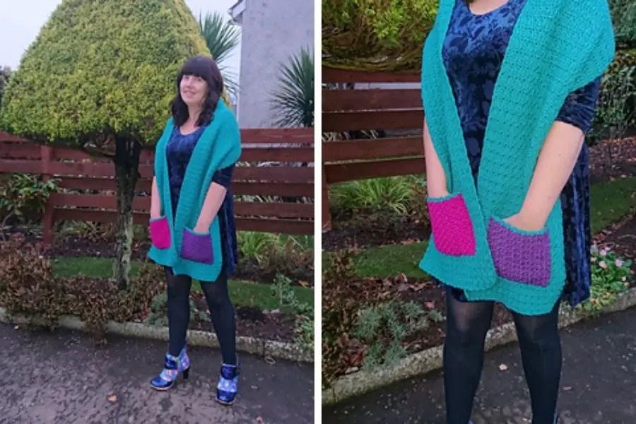 Beginner crochet pocket shawl pattern