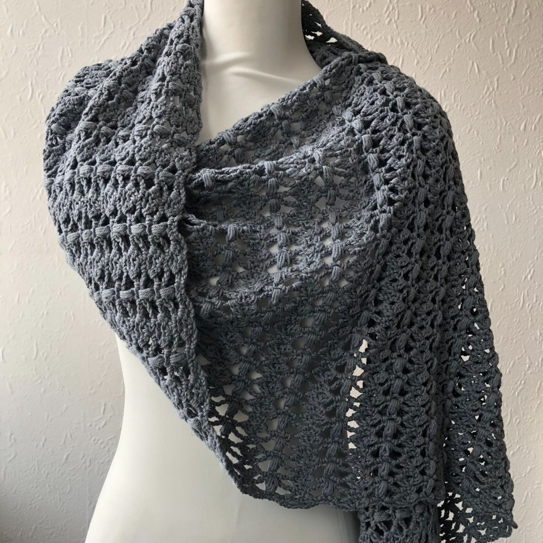 Joanne - Cluster Stitch Crochet Rectangle Shawl Pattern