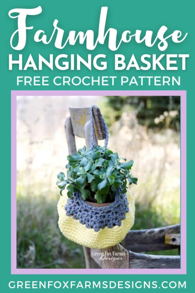 FREE Farmhouse Hanging Basket Crochet Pattern