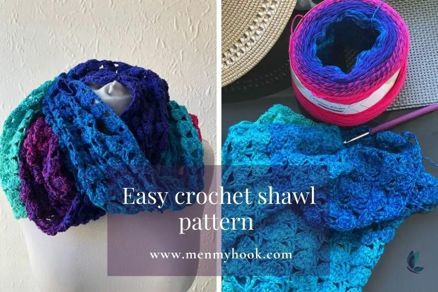 Free easy one skein crochet shawl pattern - Colette