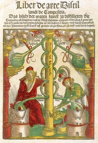 """Illustration af destillationsapparat fra Hieronymus Brunschwigs Liber de arte distillandi, den første bog om emnet, der blev publiceret ca. år 1500. I bogen fremhæves bl.a. følgende egenskaber ved destilleret alkohol: """"Det giver personen en fin kulør. Det helbreder skaldethed….dræber lus og lopper…..Det indgyder mod i personen, og styrker hans hukommelse."""""""