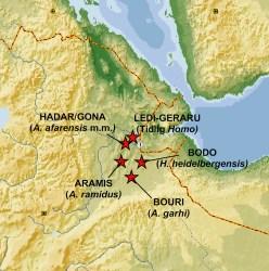 Kort over Afar-trekanten, nordlige Etiopien.