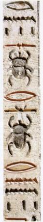 """Et fragment fra """"Dødebogen"""" med to skarabæer (der betyder noget i retning af """"at blive født""""); mellem skarabæerne ses to munde, der betyder """"at tale""""."""
