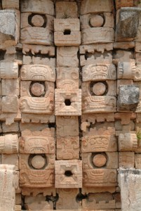 Detalje fra mayatemplet i Uxmal, Yucatan, Mexico.