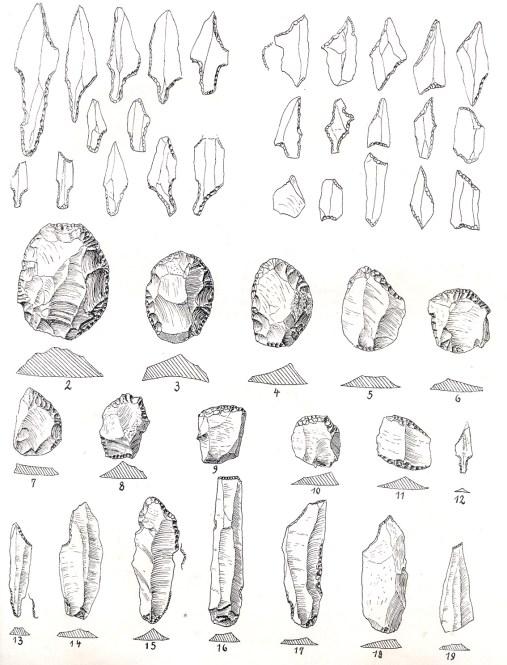 Flintredskaber fra Stellmoor (fra A. Rust, 1943)