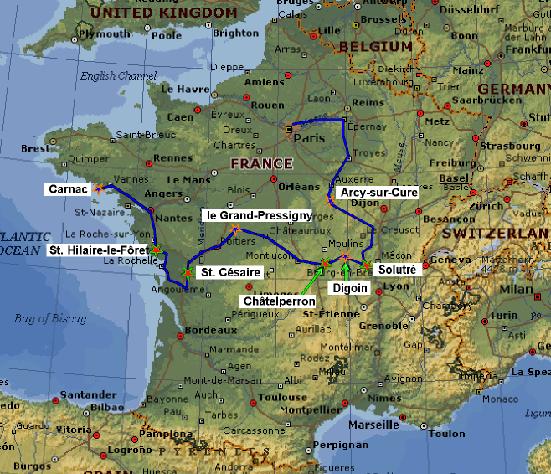Kortet viser nogle franske antropologisk interessante lokaliteter