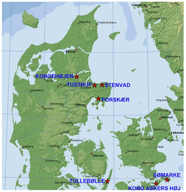 Kortet viser udvalgte lokaliteter for stendysser i Danmark