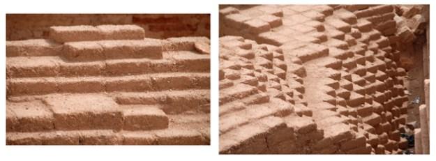 Som alle oldtidsbyer i Mellemøsten var bygningerne i Ebla opført i stråarmerede, soltørrede muddersten.