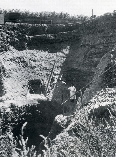 Fundstedet i 1933. Pilen peger på fundstedet