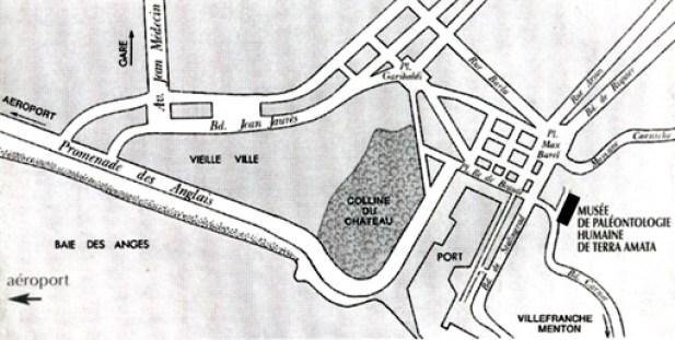 Kort over den nordøstlige del af Nice med beliggenhed af museet