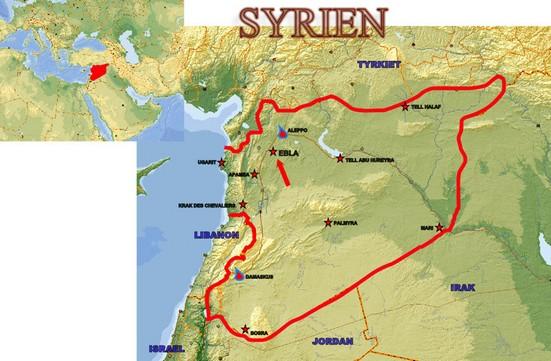 Kort over Syrien med vigtige oldtidslokaliteter. Pilen peger på Ebla. Damaskus og Aleppo er også vist.