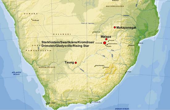 Kort og sydafrikanske lokaliteter