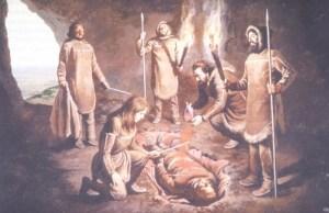 Den røde dame fra Paviland. Nutidigt maleri,d er forsøger at genskabe scenariet ved begravelsen i Øvre Palæolitikum