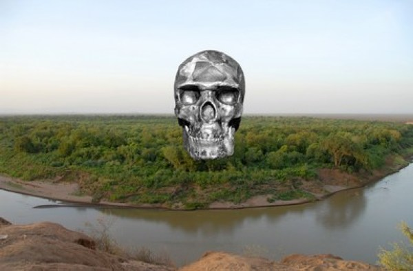 Omofloden i det sydlige Etiopien. Indsat kraniet Omo-Kibish I, der er ældste spor efter Homo sapiens, 195.000 år.