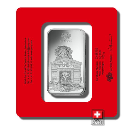 sztabka dog 100 gram srebrna
