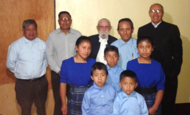 Five students and their teacher, Pedro Tucubal. Behind, from left- Timoteo Cristal, Humberto Mux, Harold Kauffman, and Victor Ovalle.