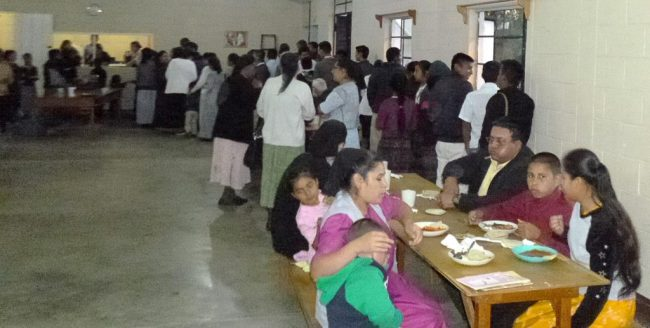 Lining up for a meal at the Institute