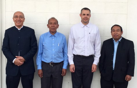 Victor Ovalle, José Benito, and Isaias Muñoz were at Larry Martin's commissioning service in Pital.